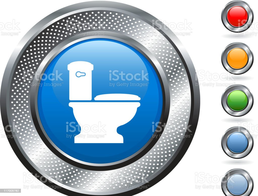 toilet royalty free vector art on metallic button royalty-free stock vector art