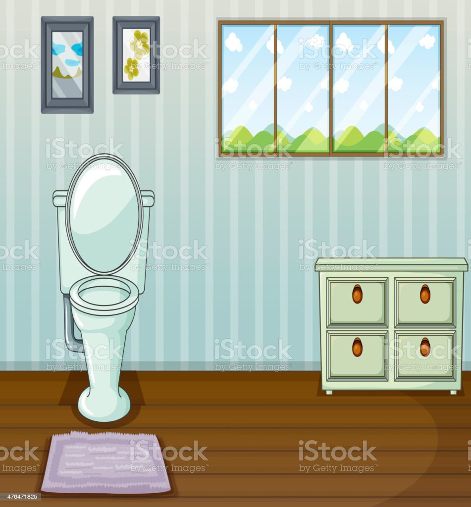 Toilet seat and a side table royalty-free stock vector art