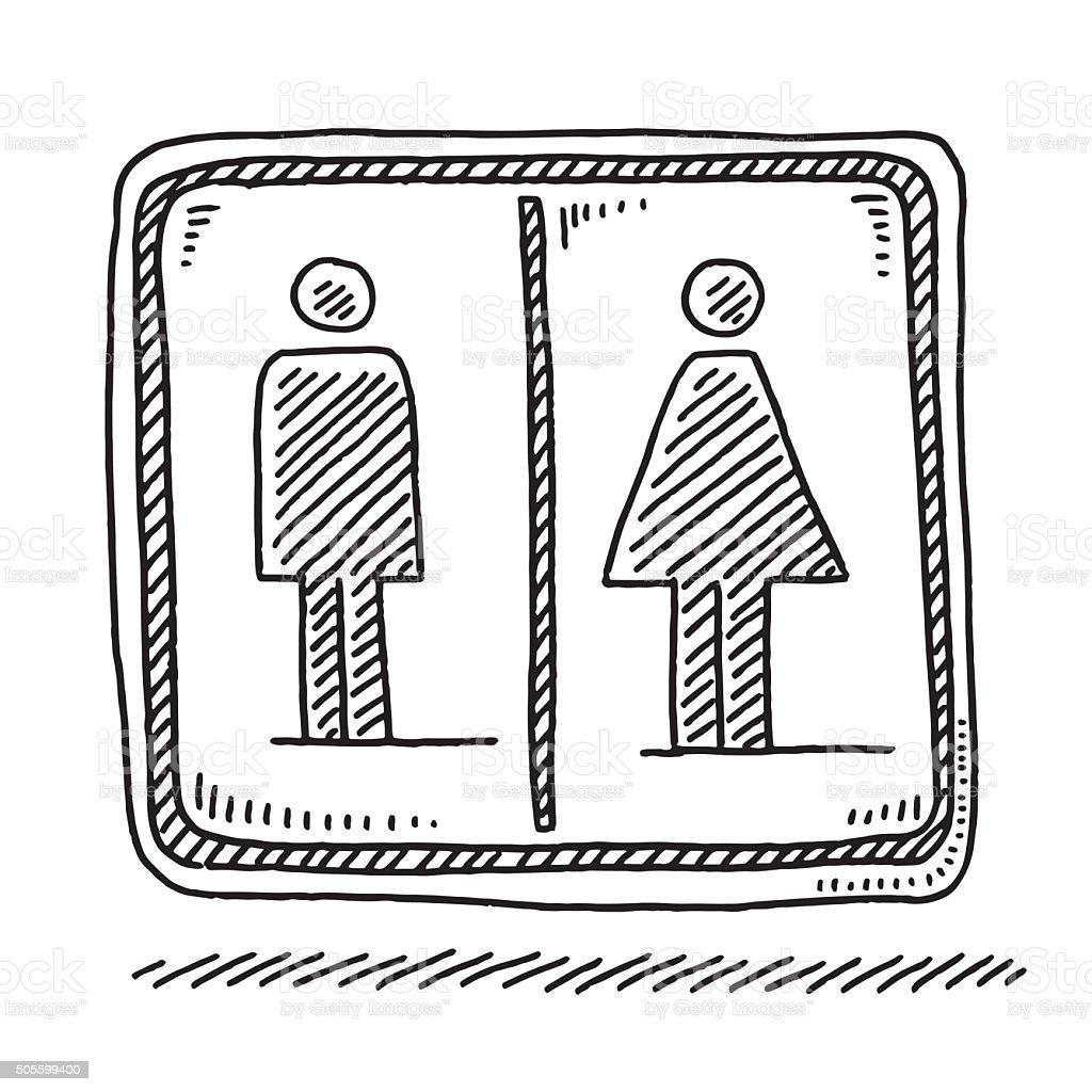 Toilet Sign Men Women Symbol Drawing vector art illustration
