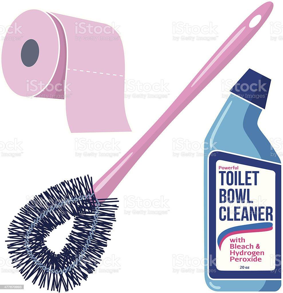 toilet supplies vector art illustration