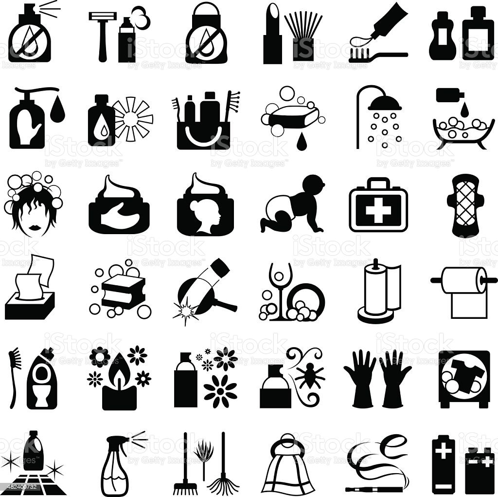 Toiletries Icon Set vector art illustration