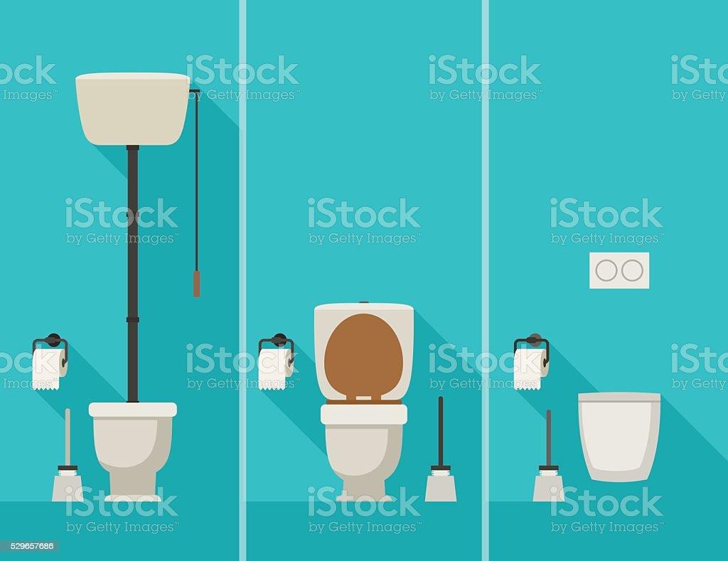 Toilets in flat style. vector art illustration