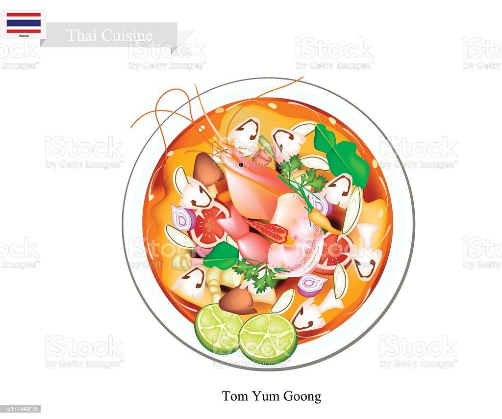 Tom Yum Goong or Thai Spicy and Sour Soup vector art illustration