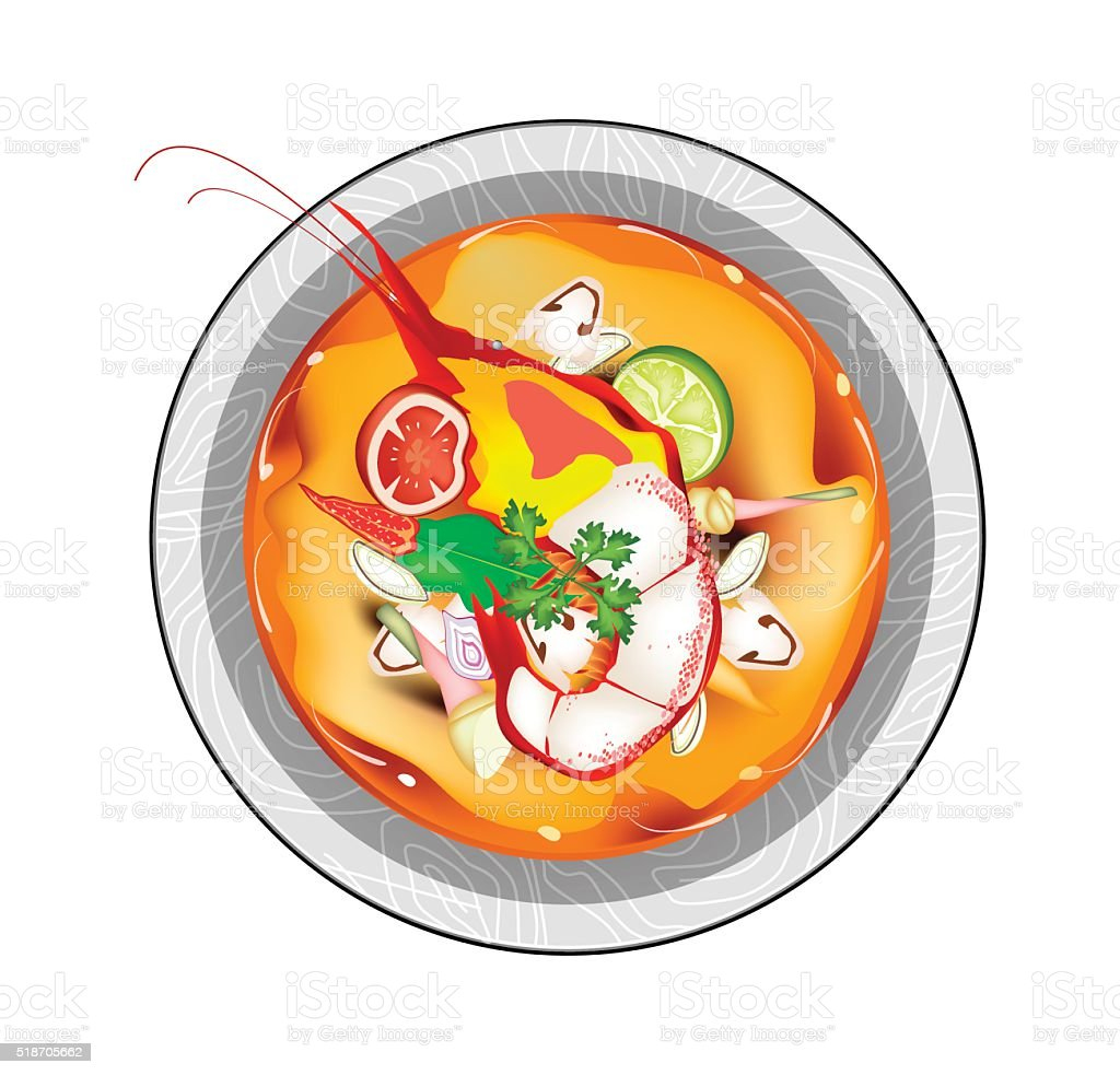 Tom Yum Goong or Thai Spicy Sour Soup with Prawns vector art illustration