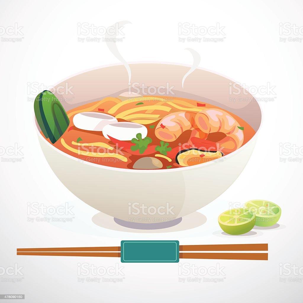 tom yum noodle vector art illustration