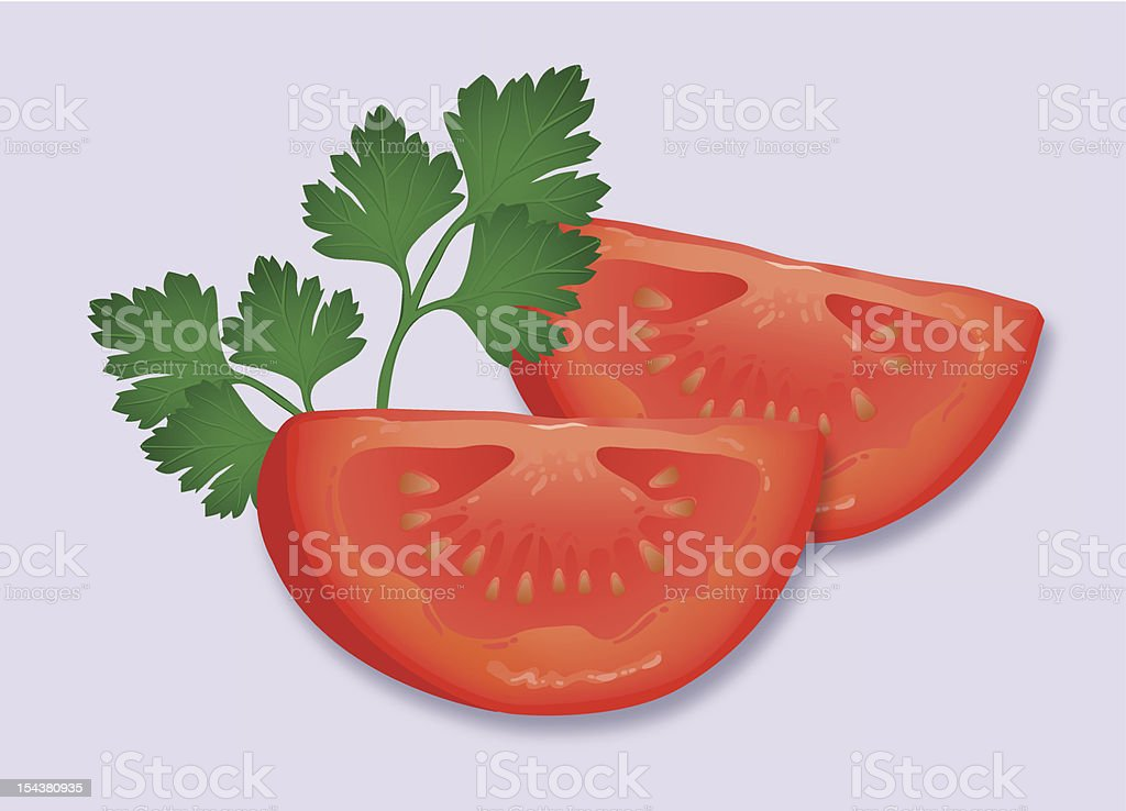 Tomato and parsley garnish. royalty-free stock vector art