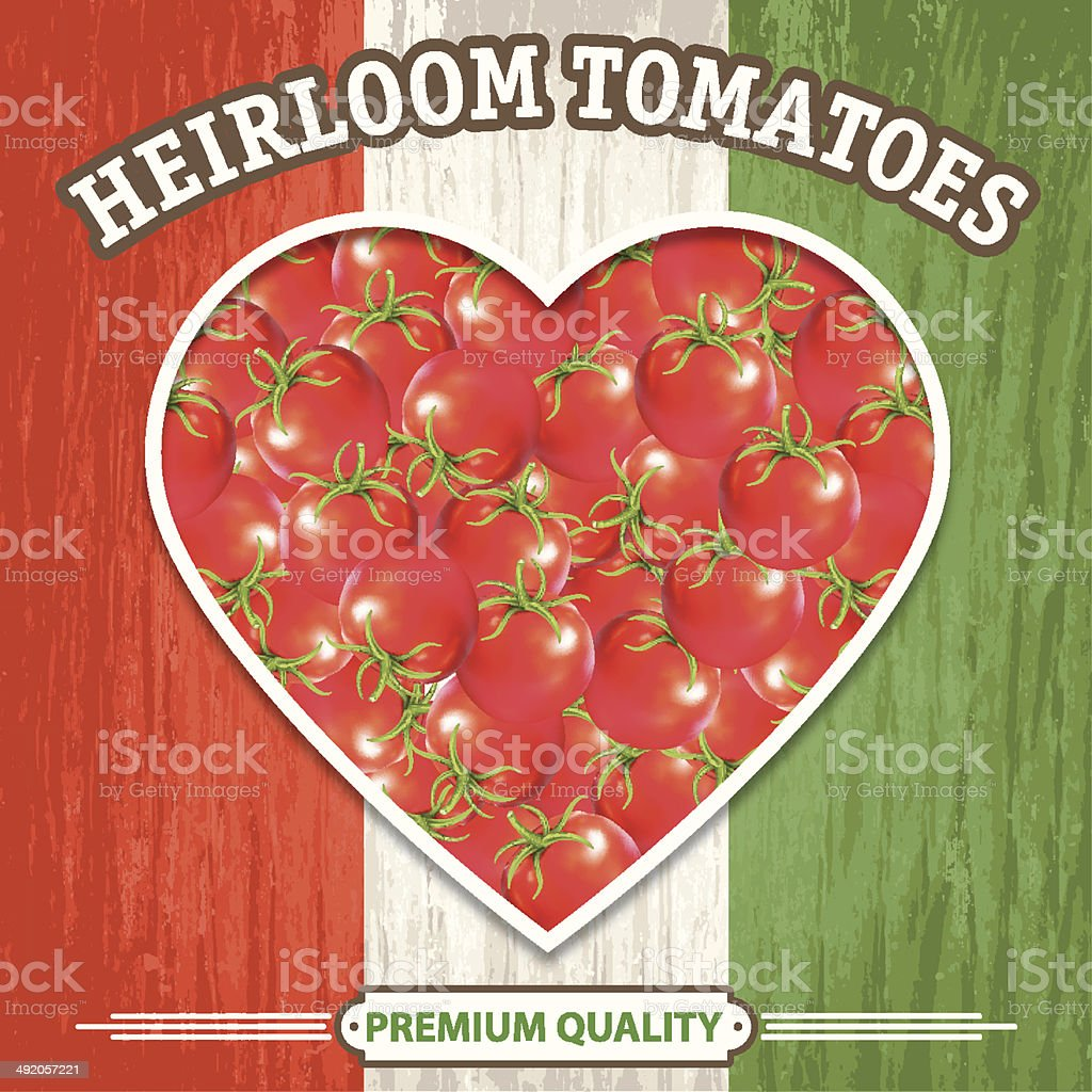Tomato Heart Sign On Old Wood Background royalty-free stock vector art