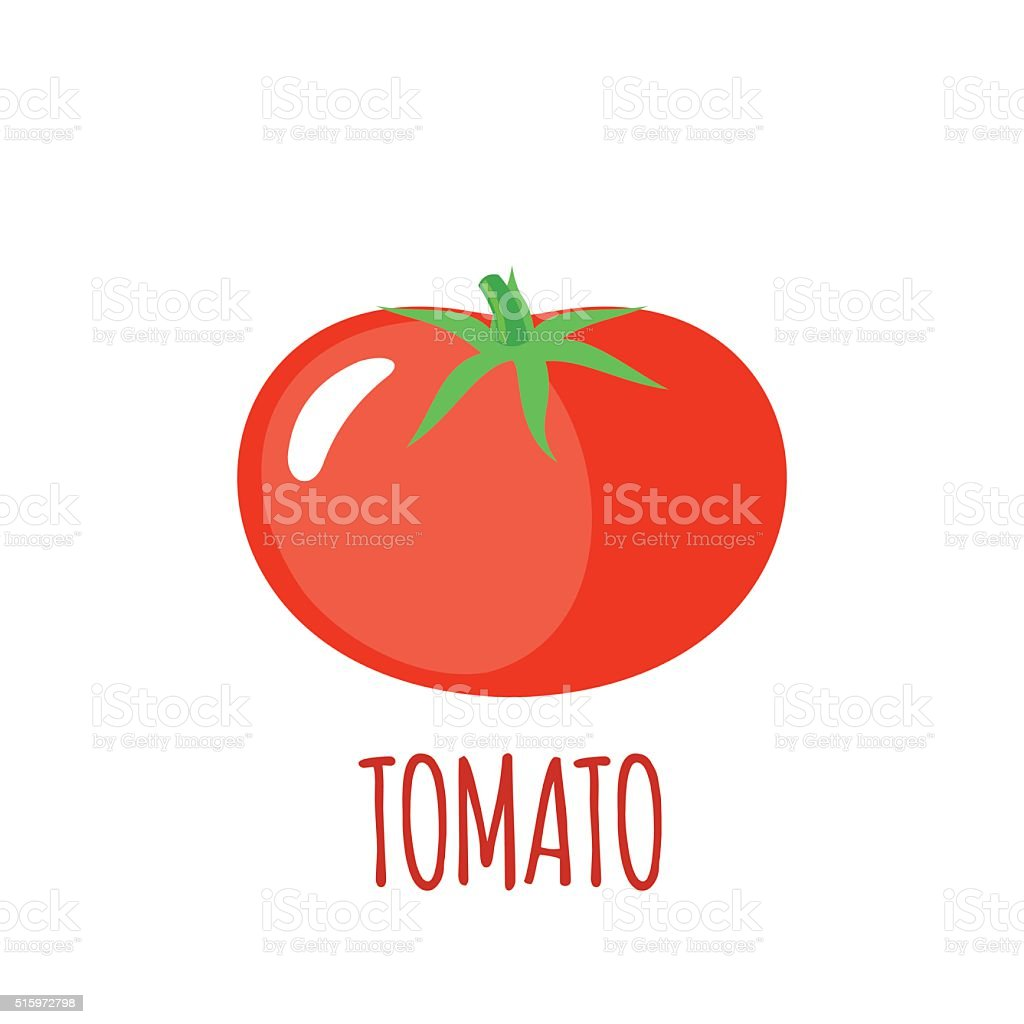 Tomato icon in flat style on white background vector art illustration