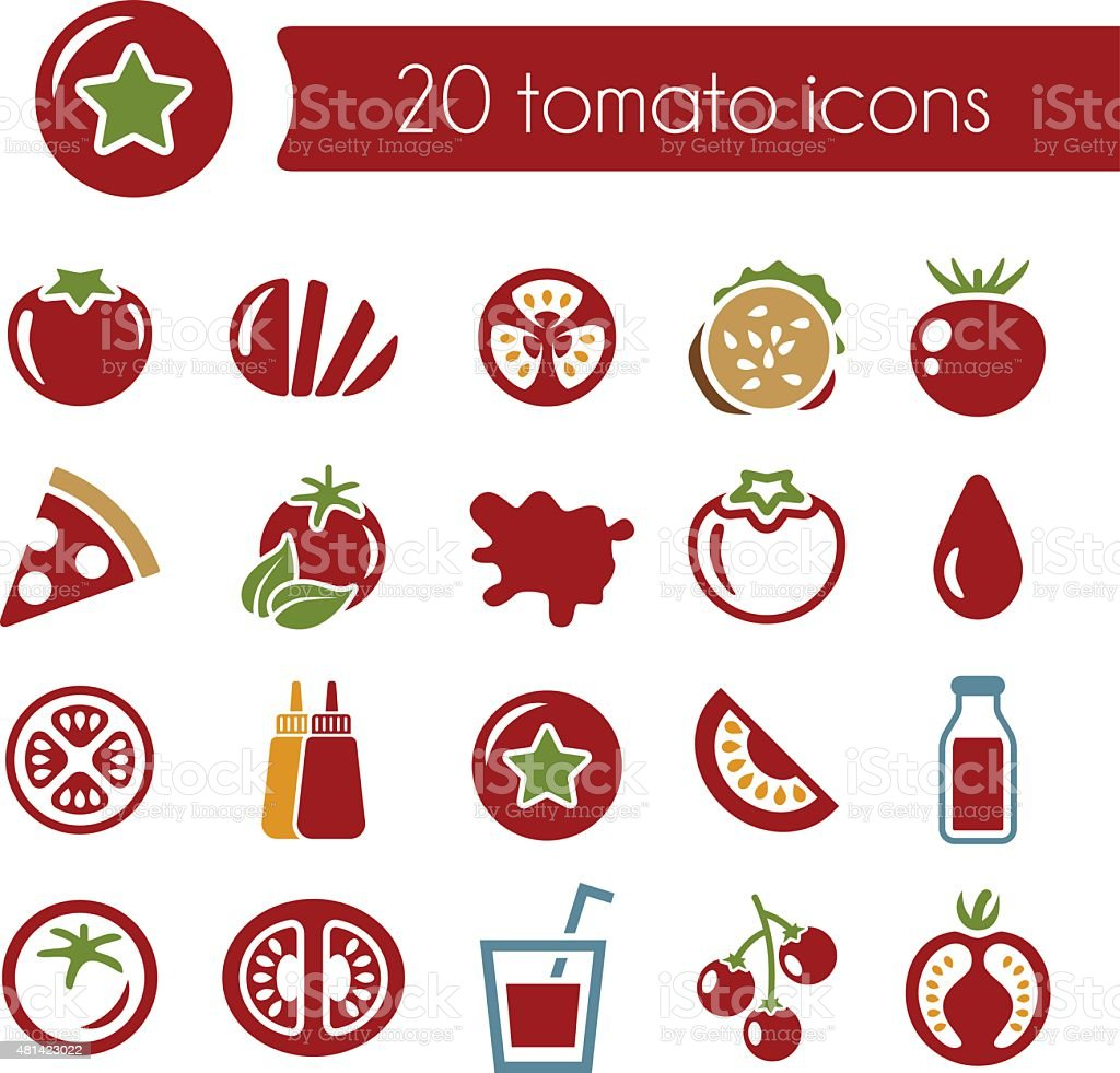 tomato icons vector art illustration