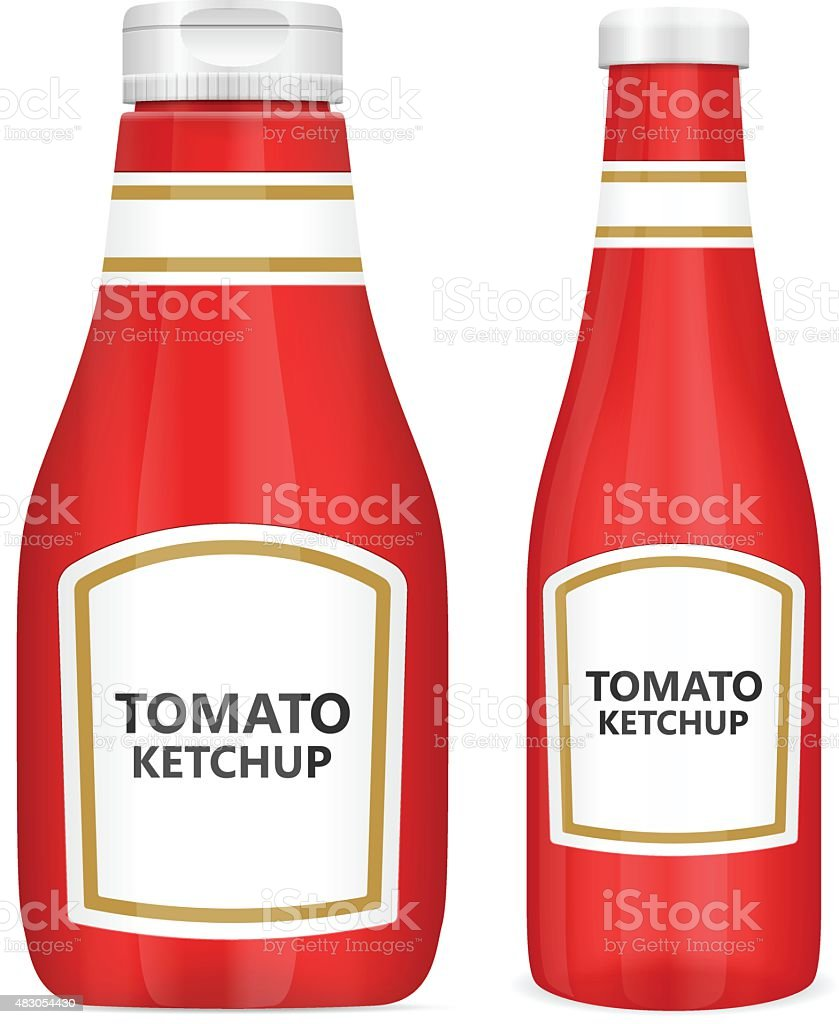 tomato ketchup bottles vector art illustration