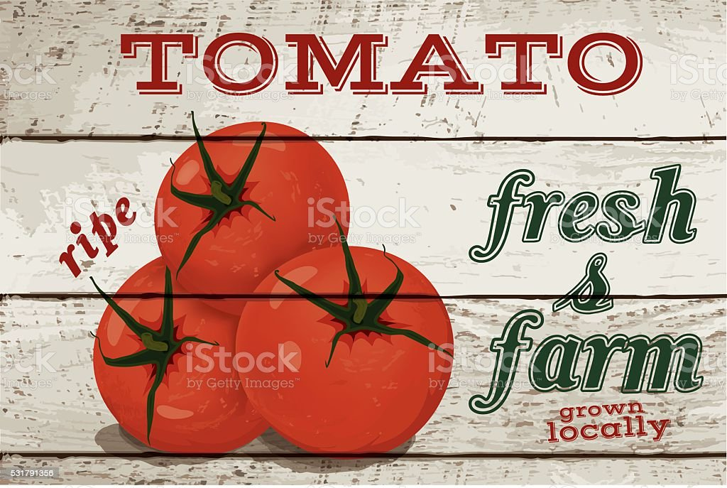 tomato on wood vector art illustration