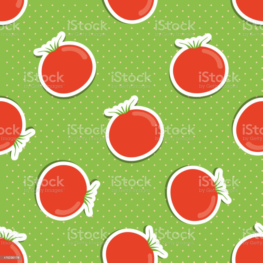 tomato pattern. Seamless texture with ripe red tomatoes vector art illustration