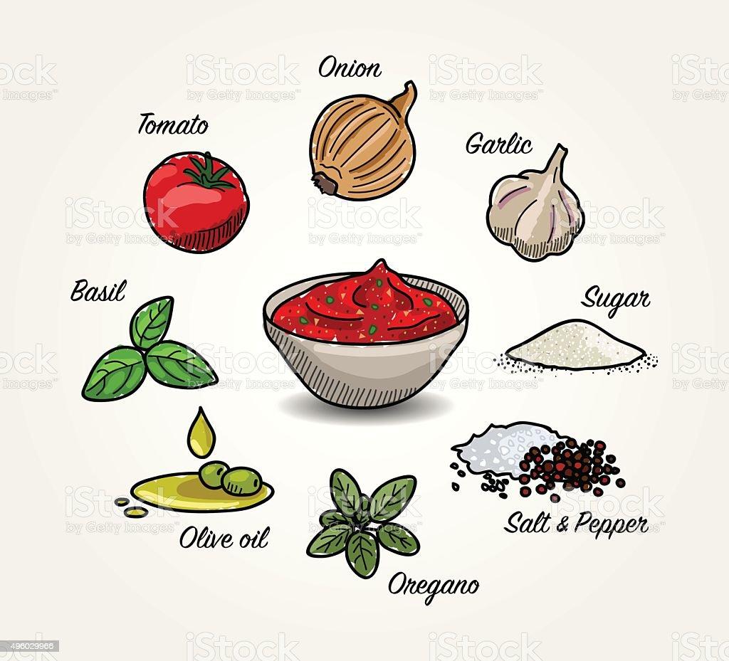 Tomato Sauce Ingredients vector art illustration