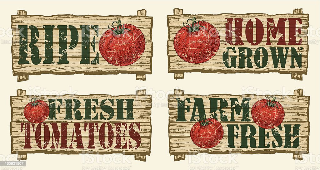 Tomato Signs - Farmers Market royalty-free stock vector art