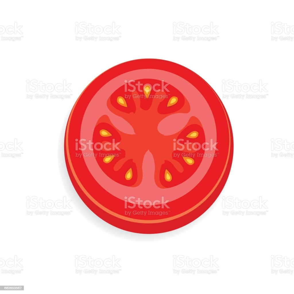 tomato Sliced icon and food vector vector art illustration