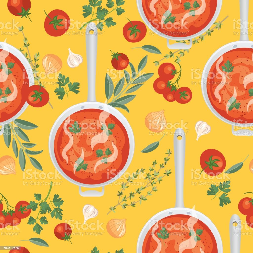 Tomato Soup Seamless Pattern vector art illustration