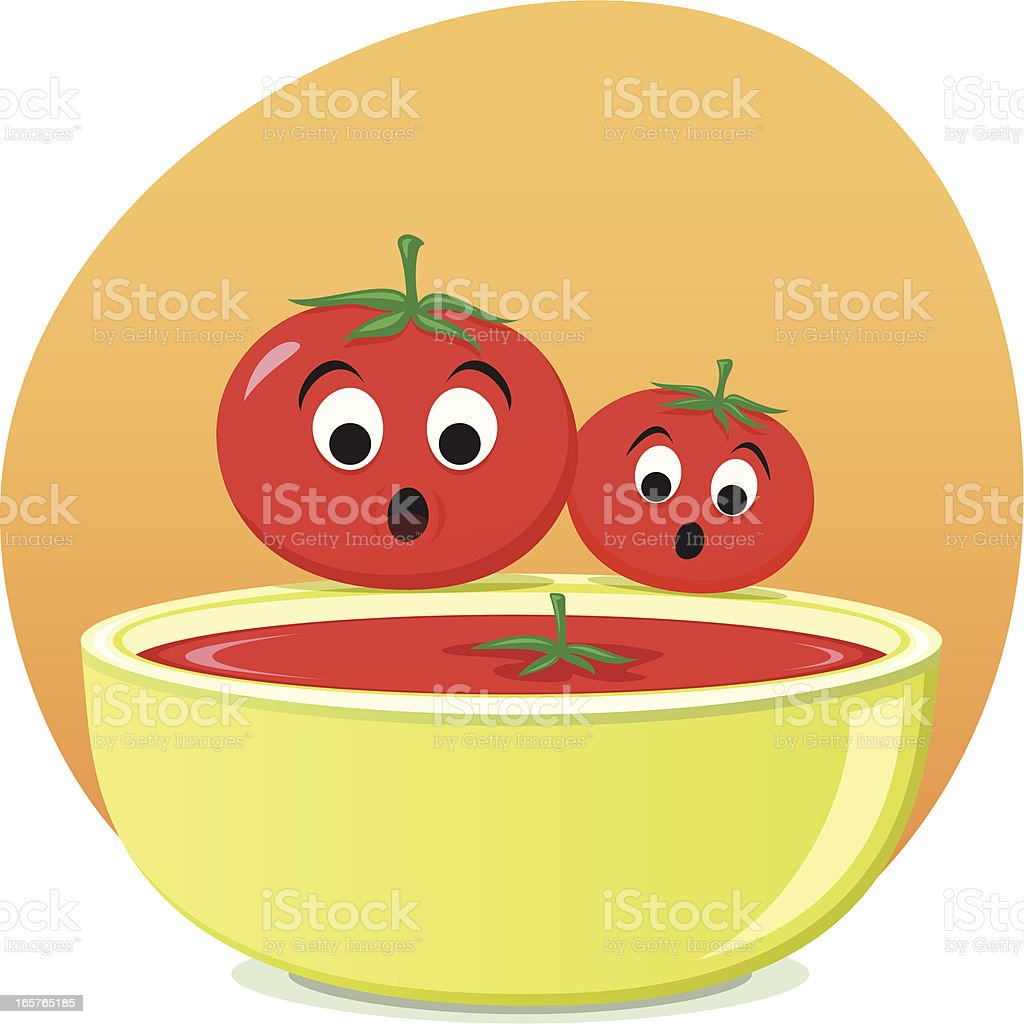 Tomatoes and tomato soup royalty-free stock vector art