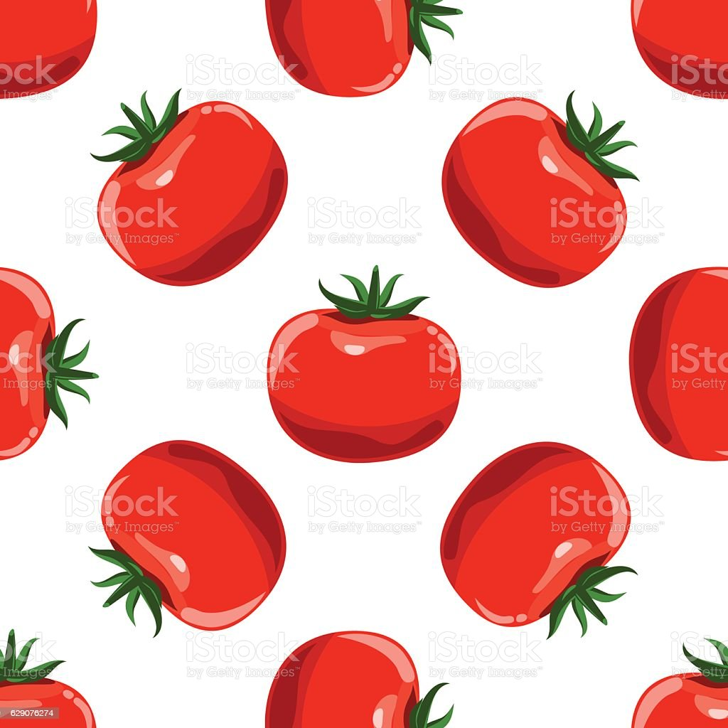Tomatoes seamless pattern background. vector art illustration