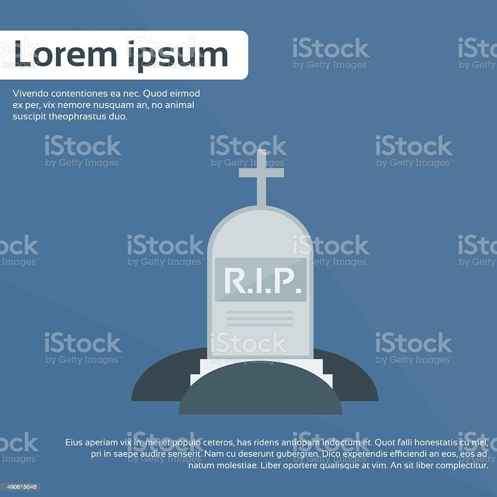 Tomb Grave Icon RIP Stone Flat Vector vector art illustration
