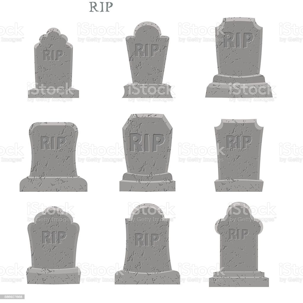 Tomb set. Ancient RIP. Collection of gravestones. Grave on white vector art illustration
