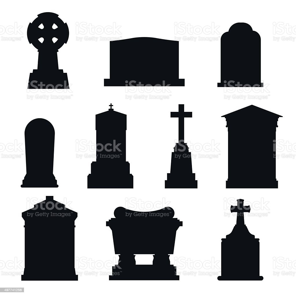 Tombs stone grave vector construction black and white icons vector art illustration