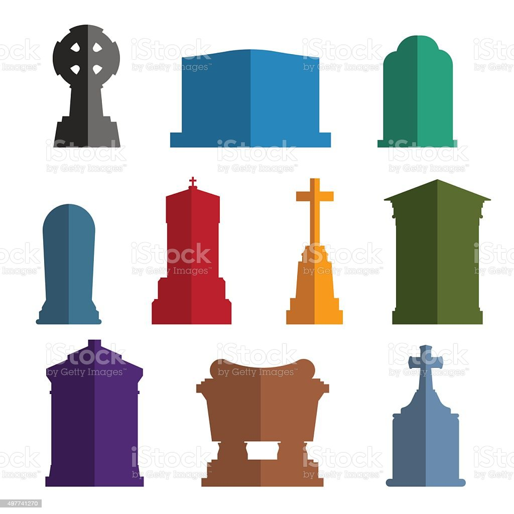 Tombs stone grave vector construction set vector art illustration