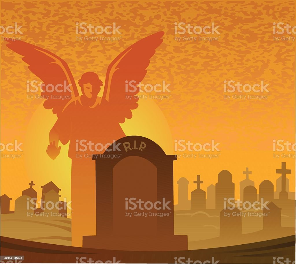 Tombstone and Angel With Copy Space - Graveyard vector art illustration