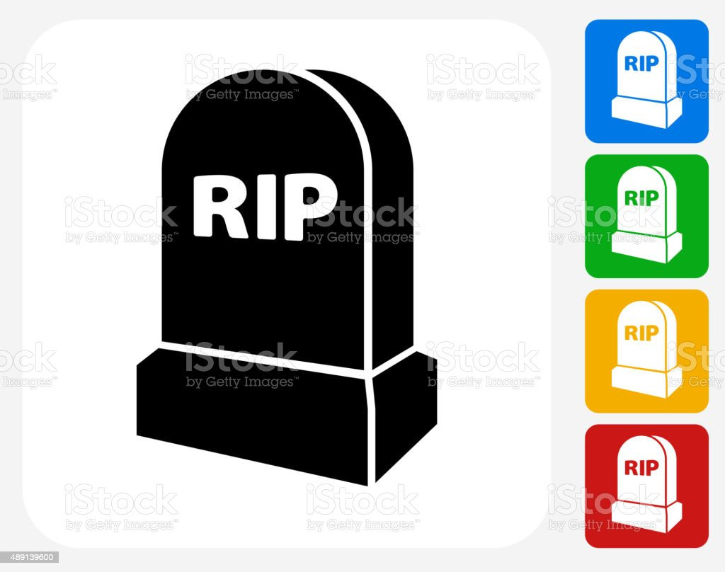 RIP Tombstone Icon Flat Graphic Design vector art illustration