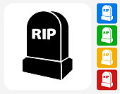 RIP Tombstone Icon Flat Graphic Design