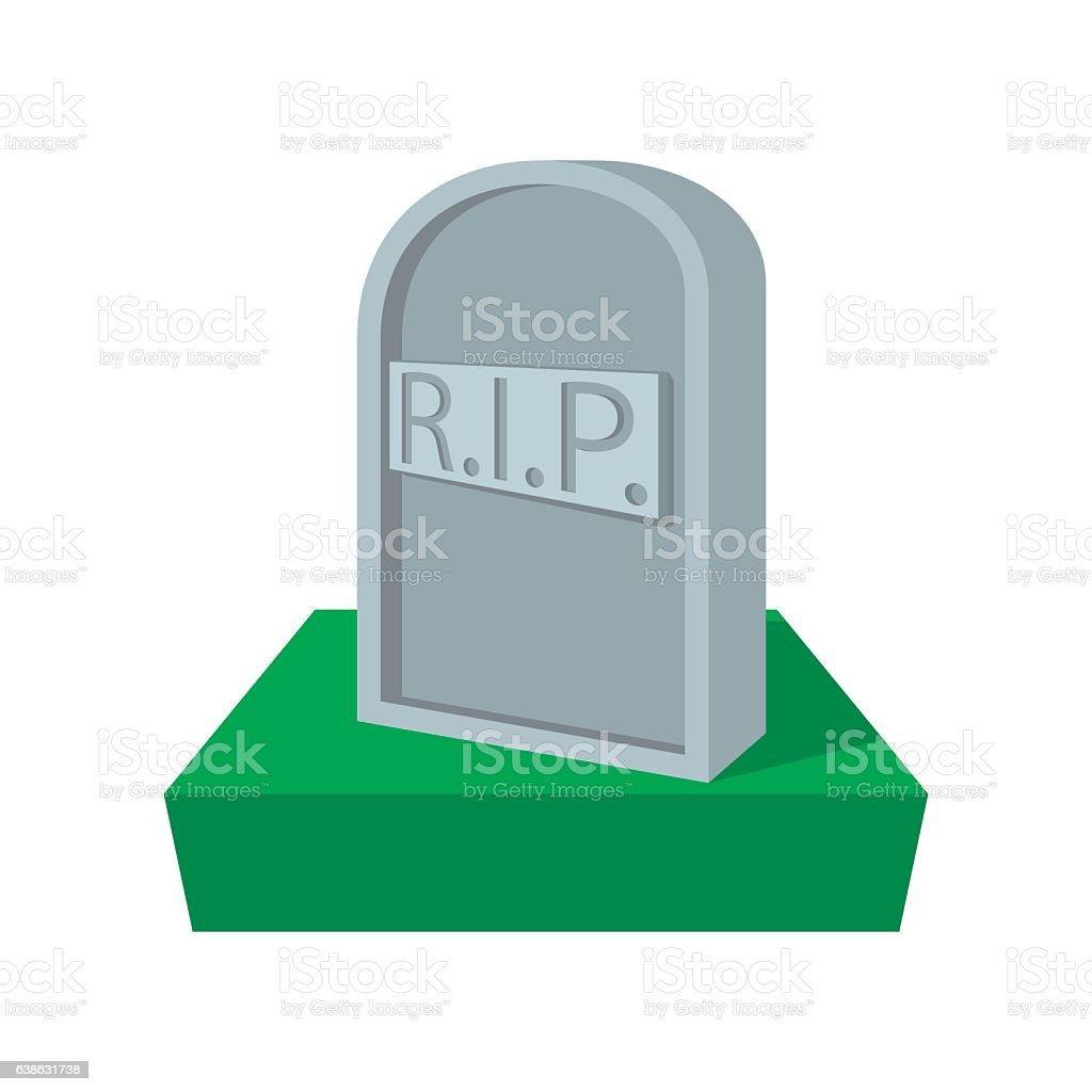 Tombstone with RIP cartoon icon vector art illustration