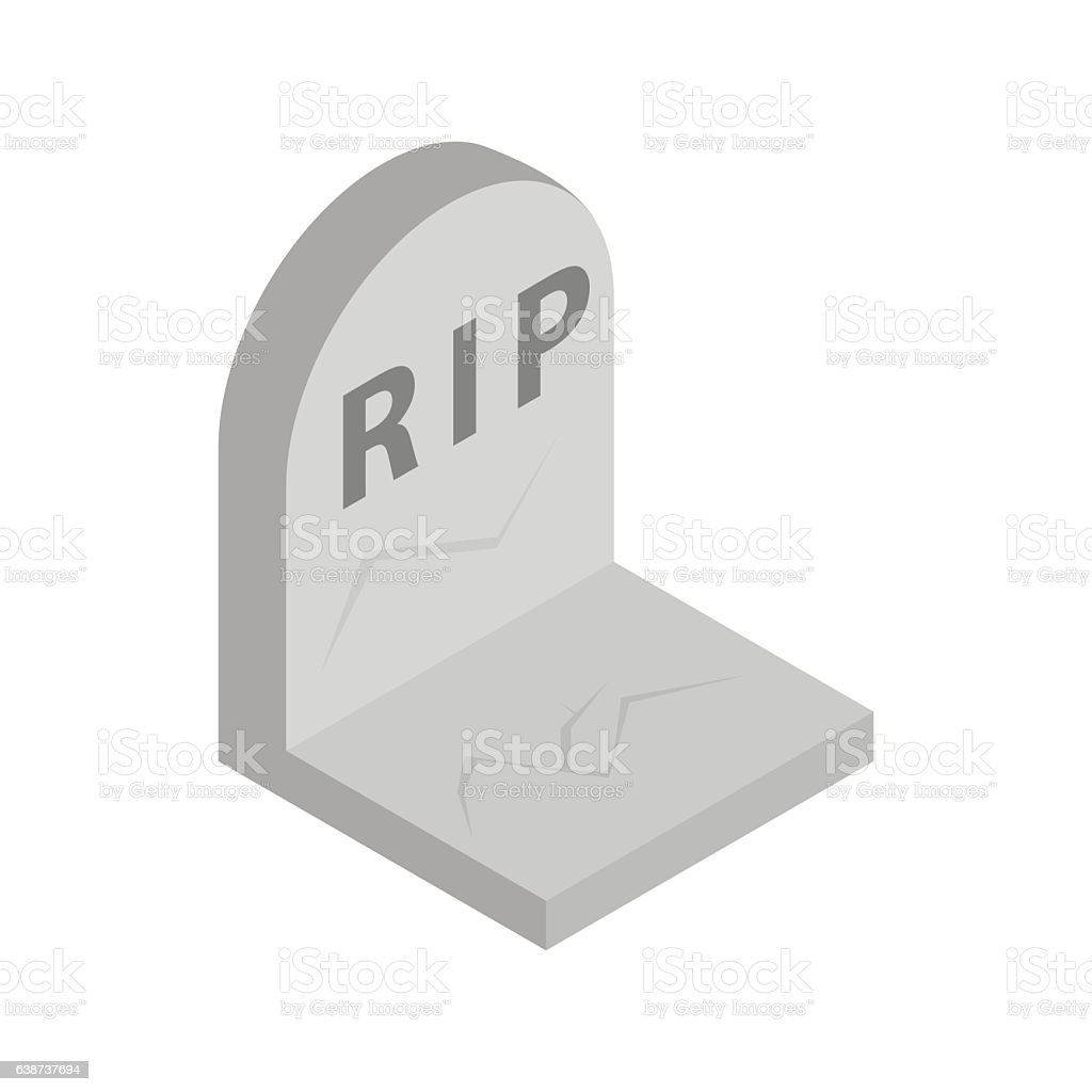 Tombstone with RIP isometric 3d icon vector art illustration