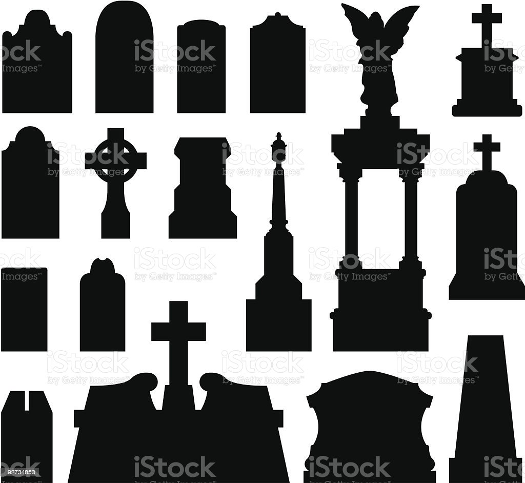 Tombstones and grave monuments vector art illustration