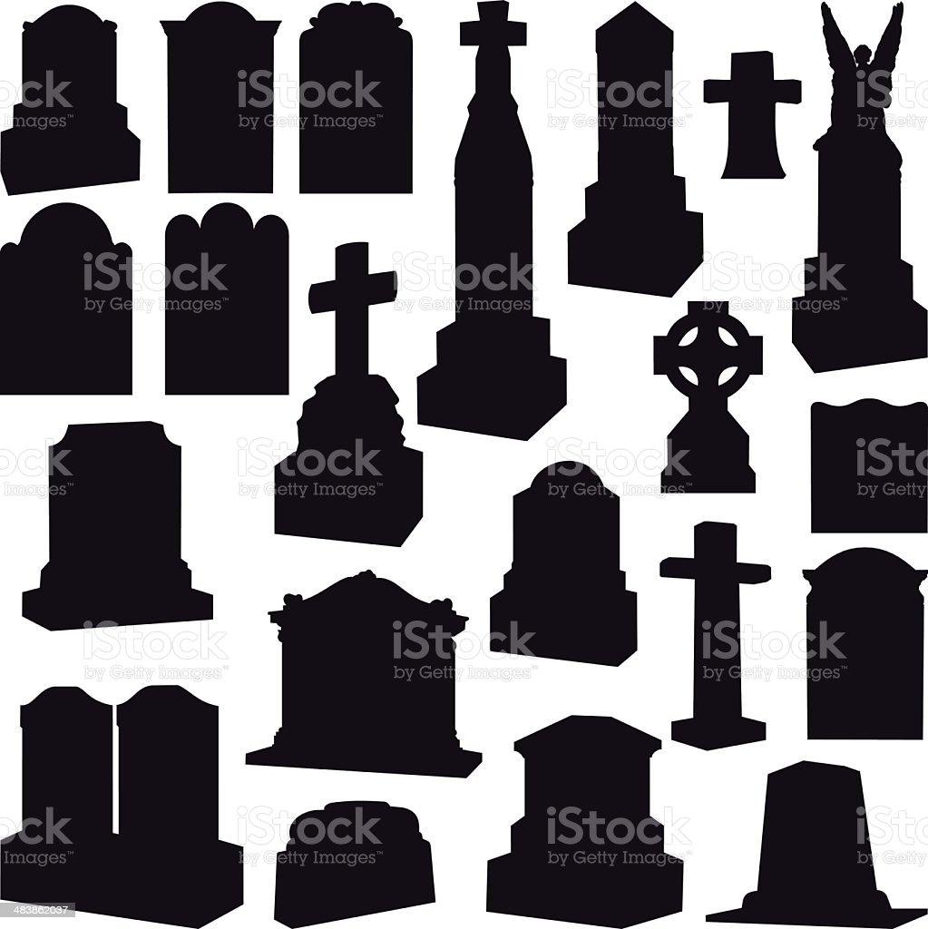 Tombstones, Headstones, Gravestone and Crosses vector art illustration