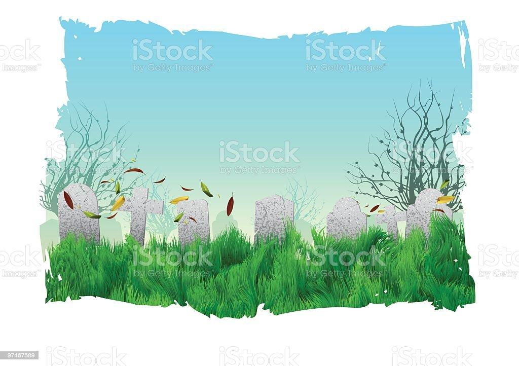 Tombstones in a Spooky Graveyard vector art illustration