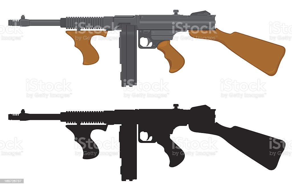 Tommy Gun vector art illustration