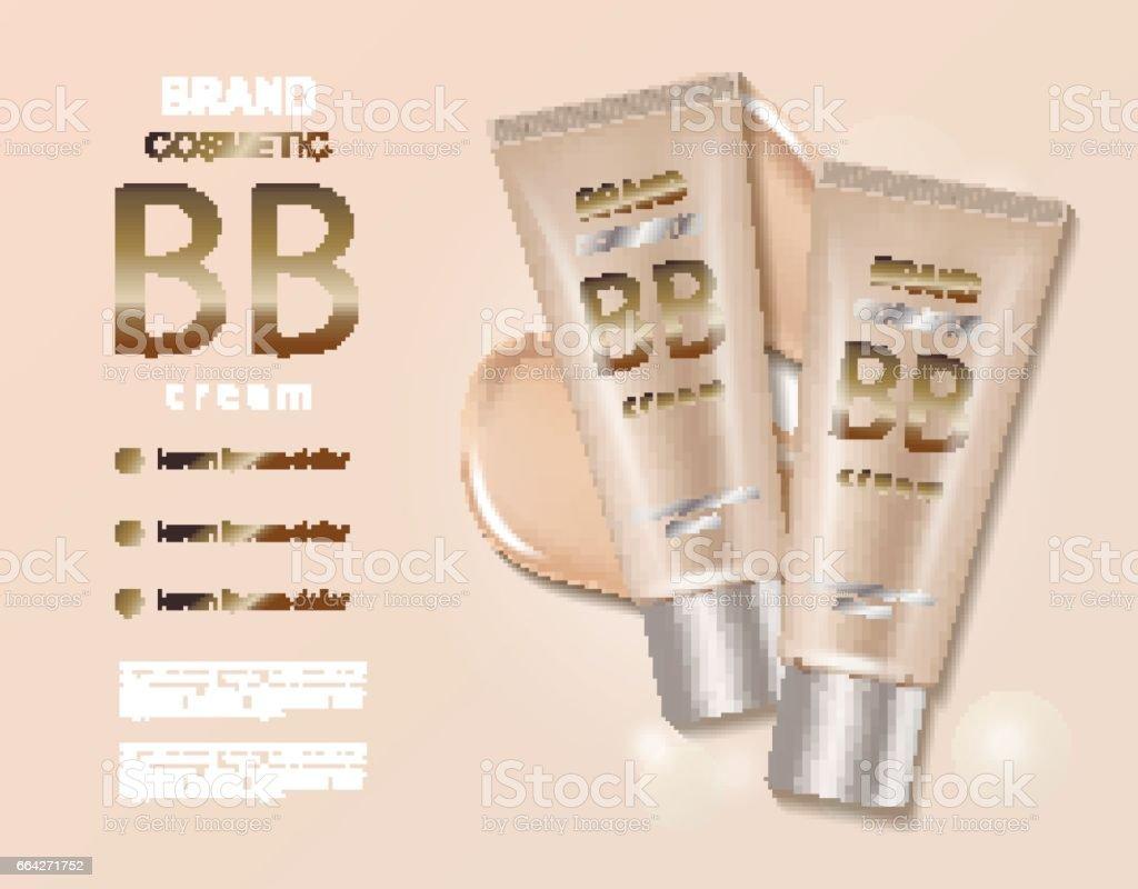 Tone skin BB cream bottle template, makeup mockup for magazine. vector art illustration