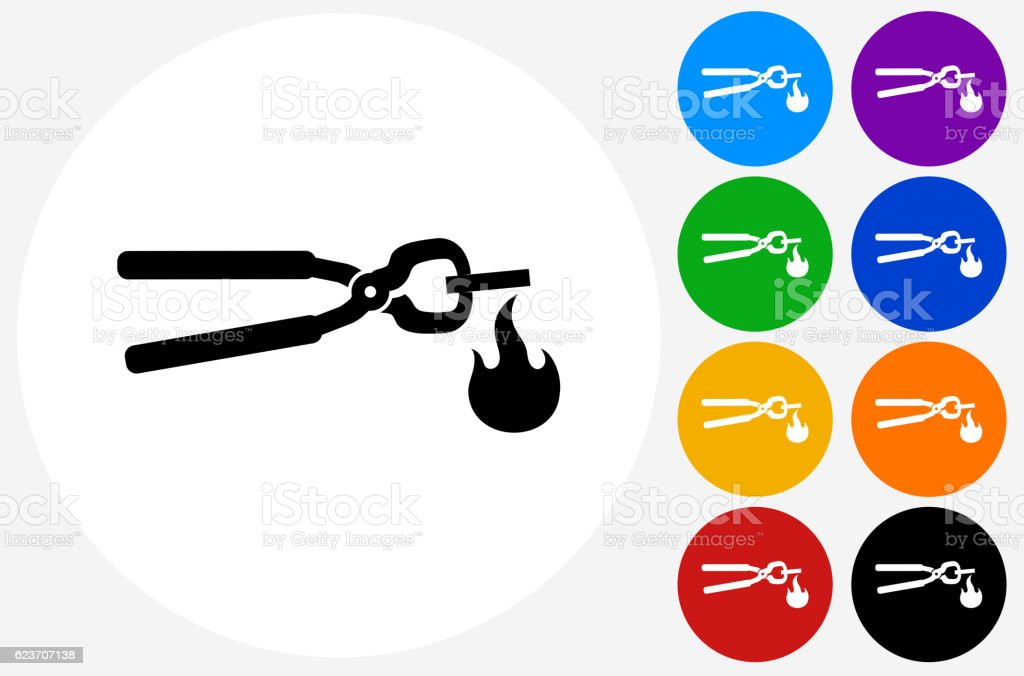 Tongs Heating Metal Icon on Flat Color Circle Buttons vector art illustration