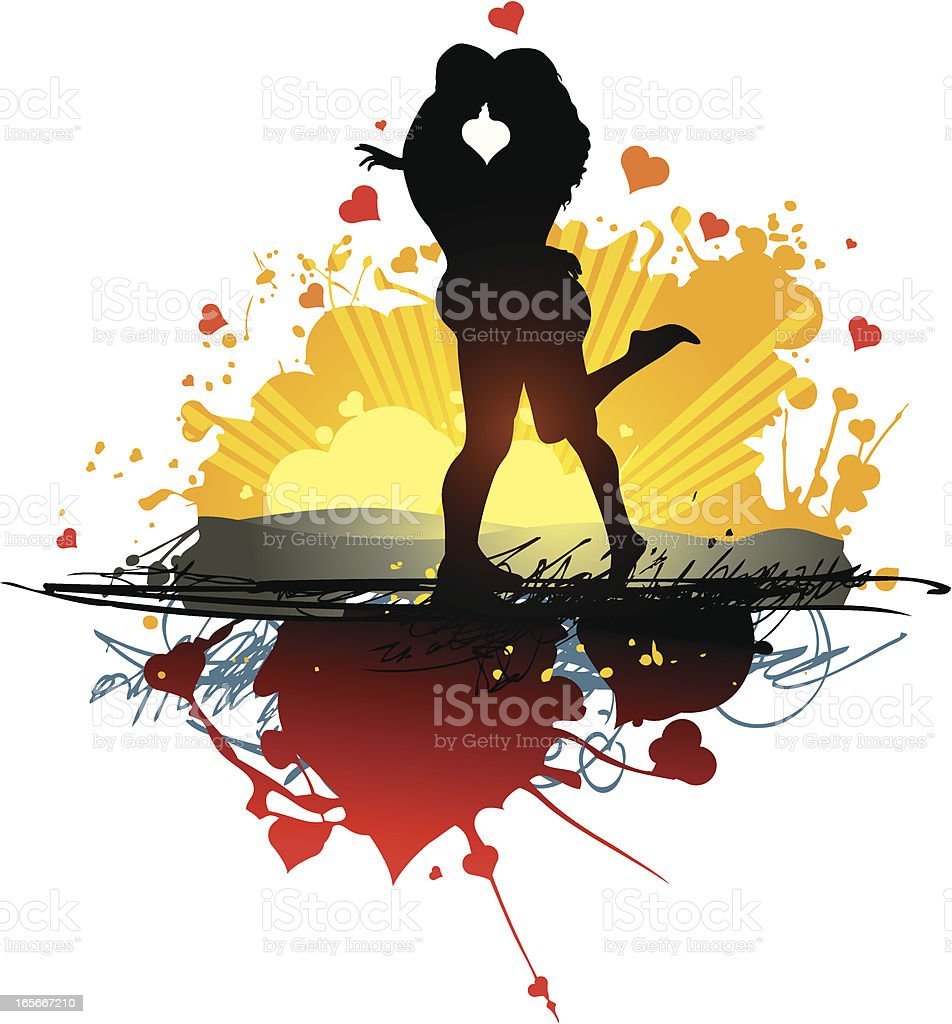 Too much love - couple vector art illustration