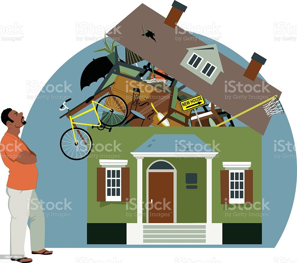 Too much stuff vector art illustration