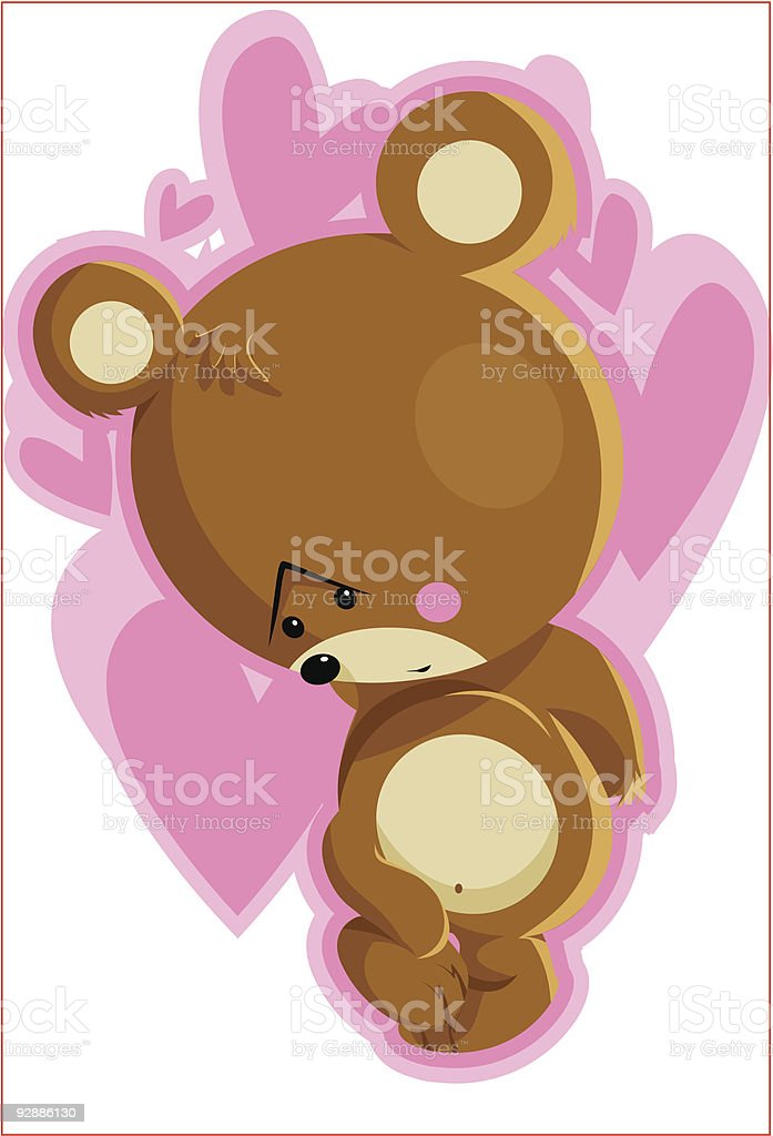 Too Shy Bear royalty-free stock vector art