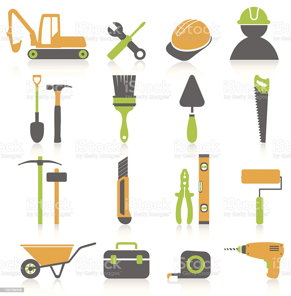 Tool and construction icon set royalty-free stock vector art
