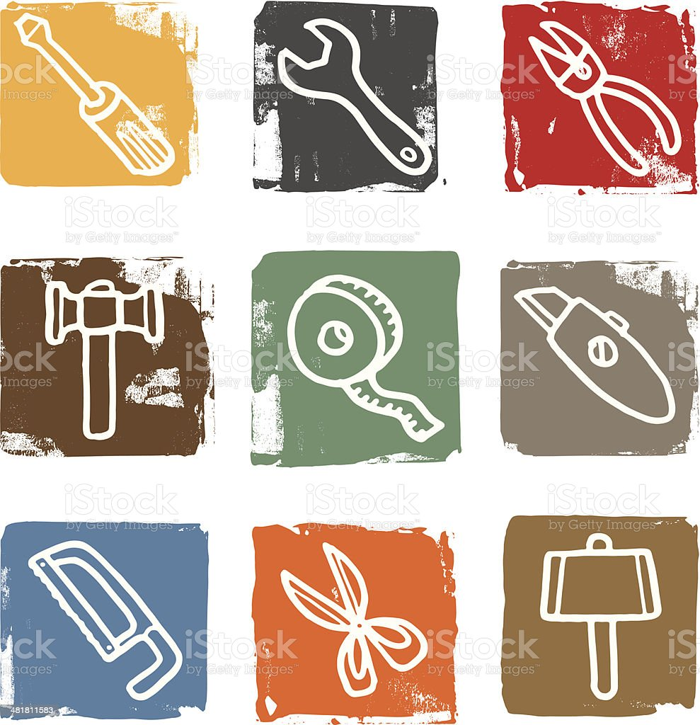 Tool and equipment block icon set royalty-free stock vector art