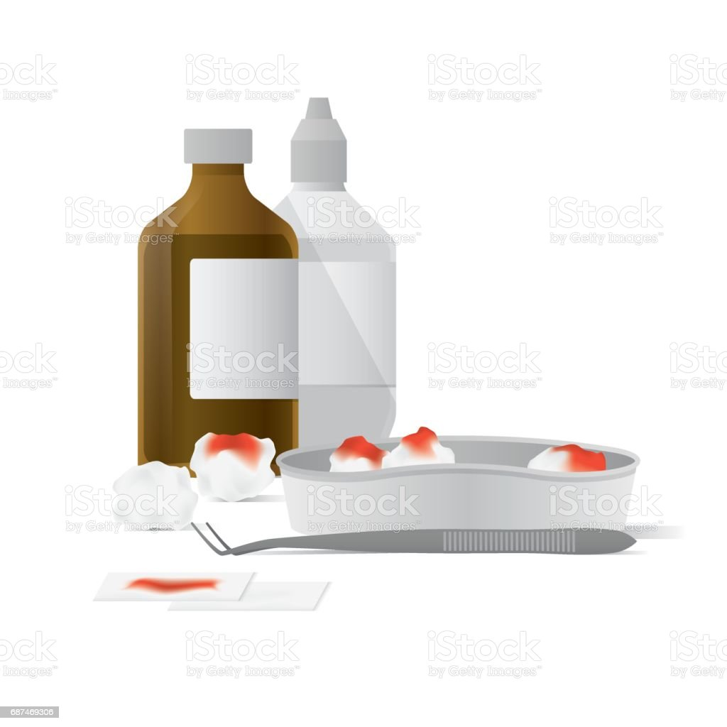 Tool and equipment for clean the wound illustration vector on white background. Medical concept. vector art illustration