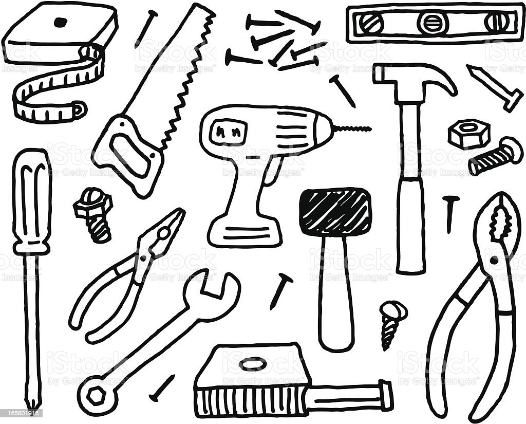 Tool Doodles vector art illustration