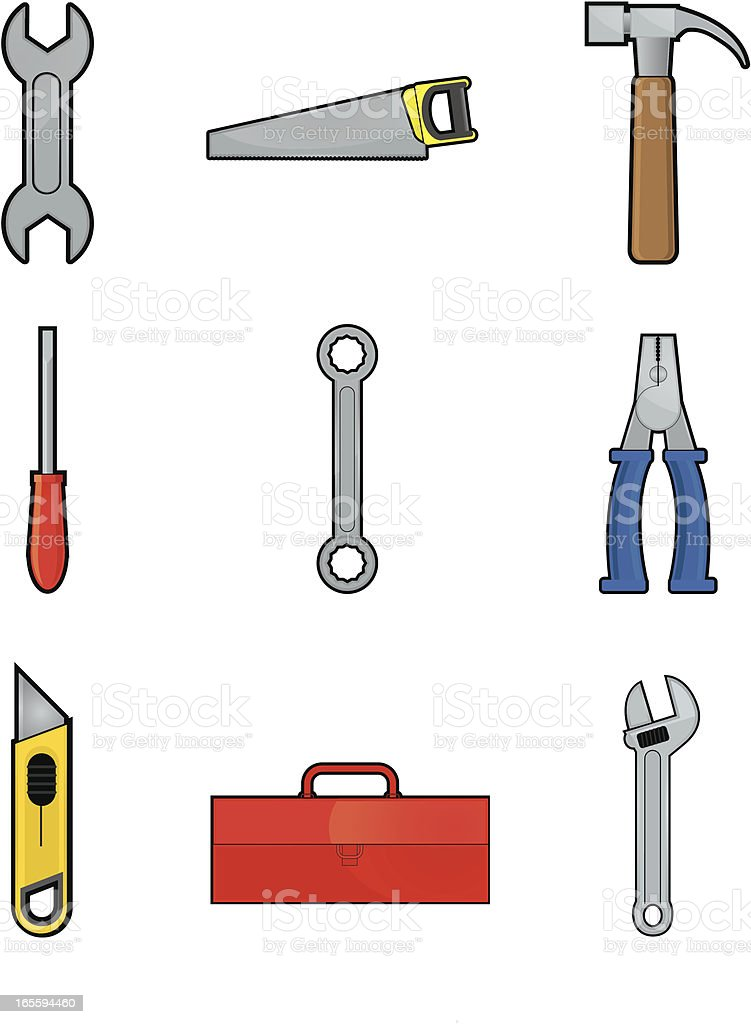Tool icon set vector art illustration