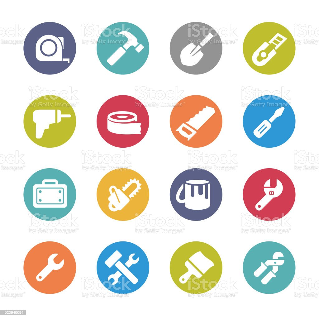 Tool Icons - Circle Series vector art illustration