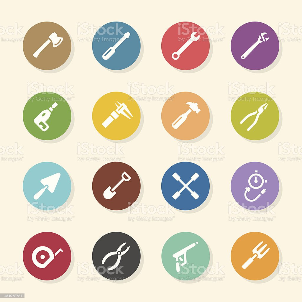 Tool Icons - Color Circle Series vector art illustration