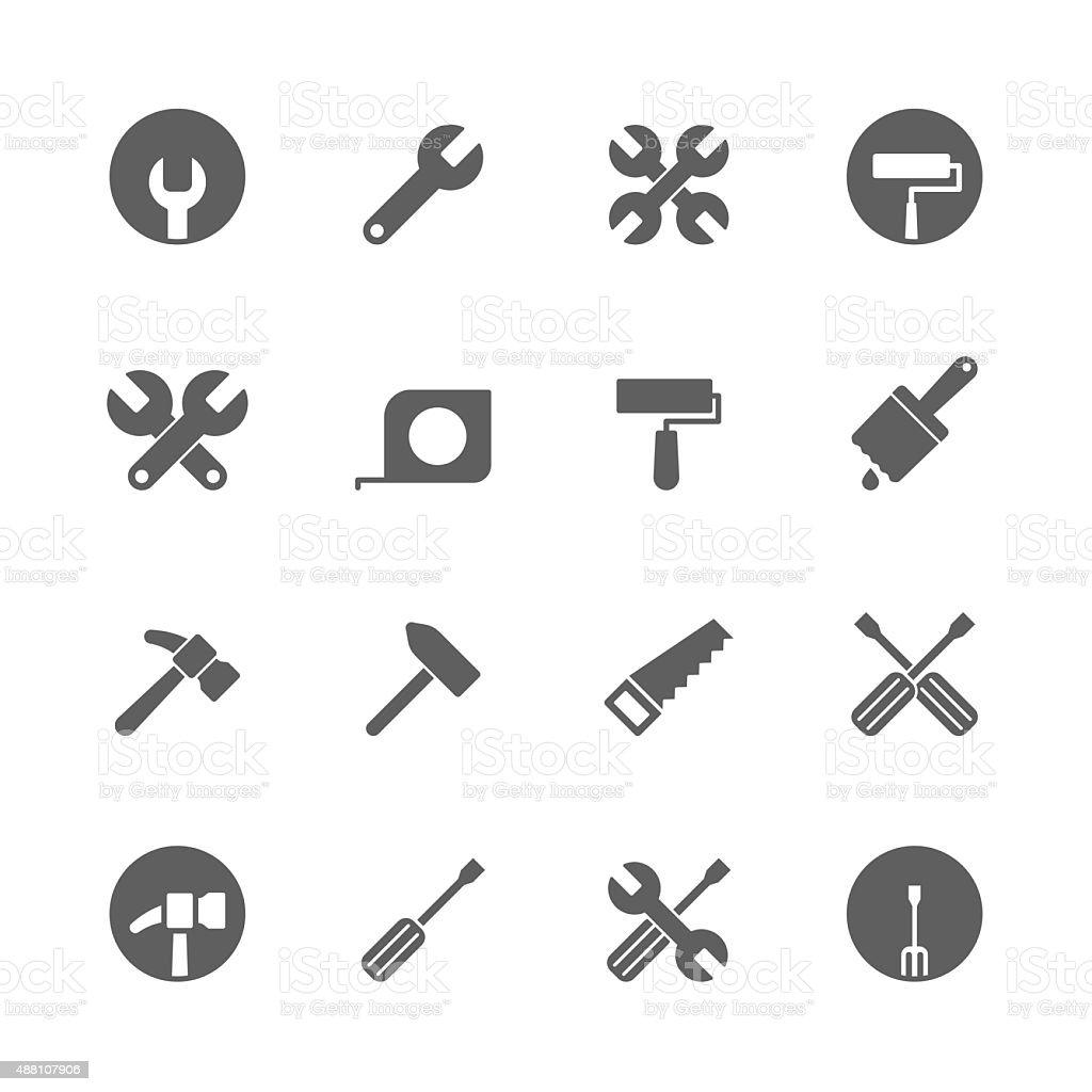 tool icons set vector art illustration