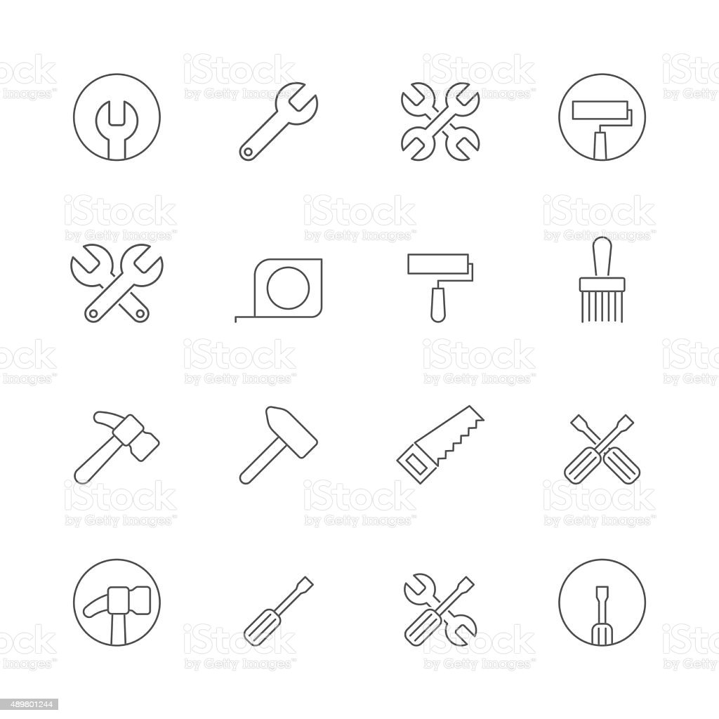 tool icons set vector art illustration