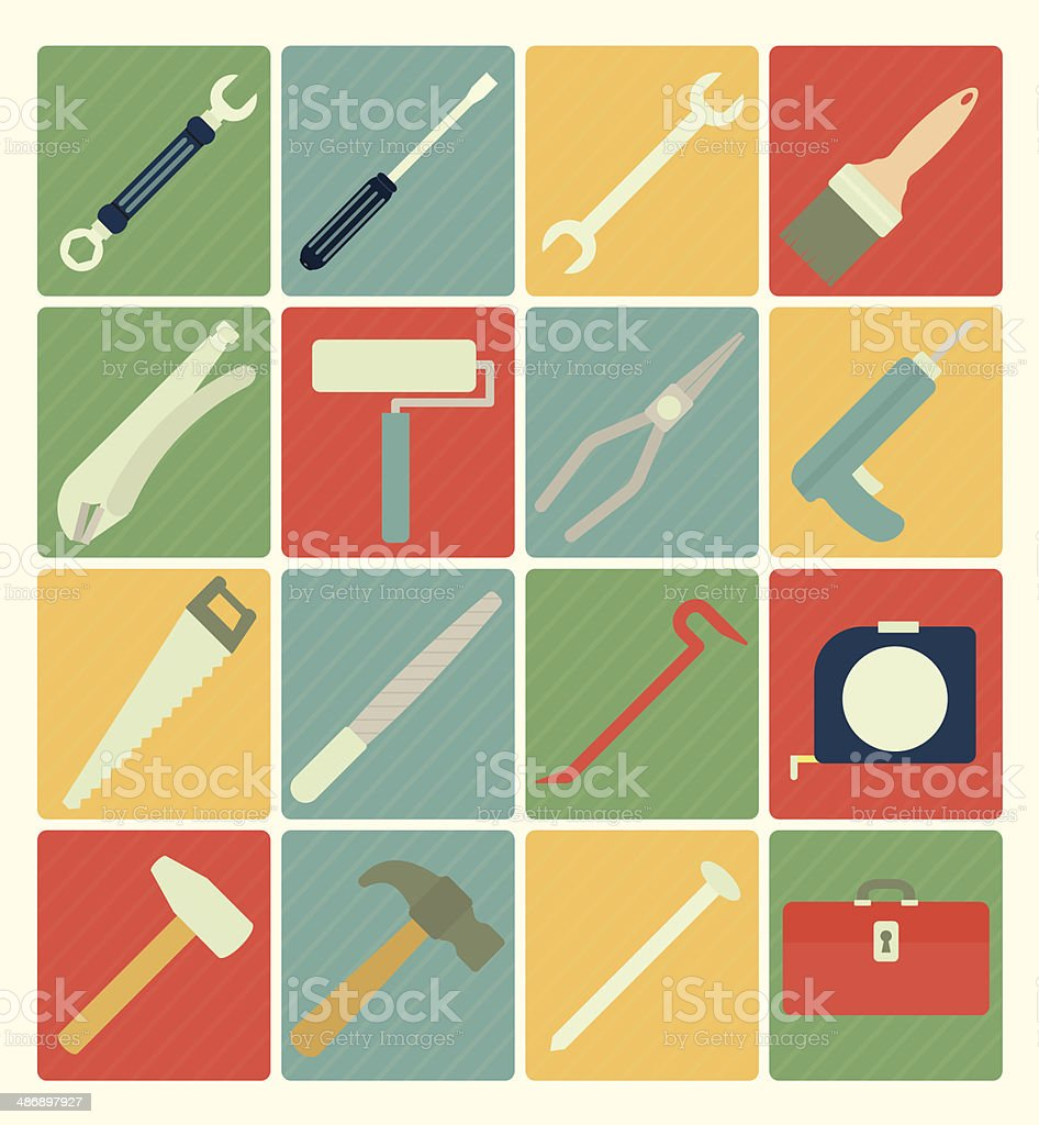 Tool icons vector art illustration